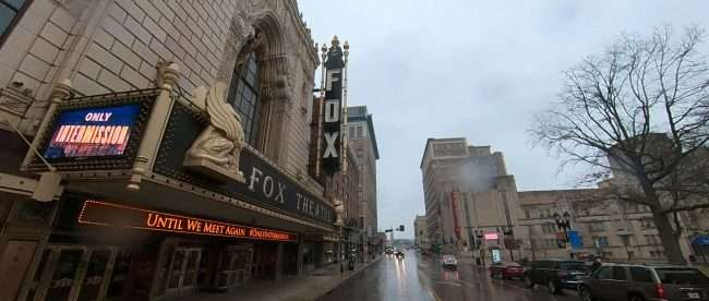 During pandemic the Fox Theatre has OnlyIntermission on marquee giving us hope that this will soon pass. Feb 2021. credit craig currie