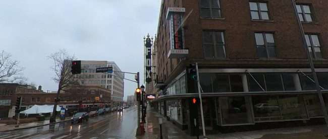 A view of Fox Theatre and Stage Left Grille from Grand and Washington in Midtown in Feb. 2021. credit craig currie