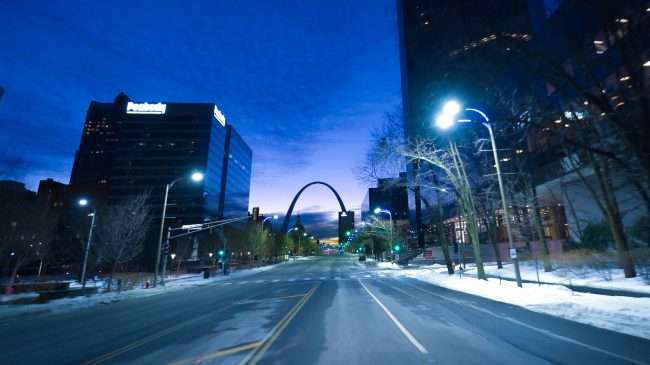 Gateway Arch in view while heading east on Market Street in St. Louis in Feb. 2021. credit craig currie