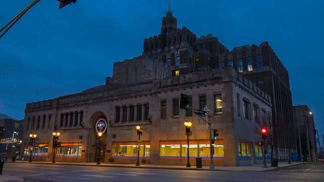 Grand Center Arts Academy across from Powell Hall Feb. 2021. credit craig currie