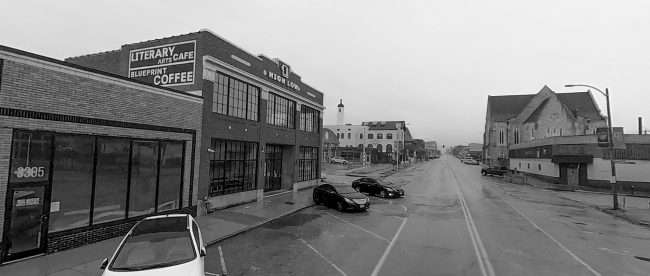 High Low Literary Arts Cafe building at 3301 Washington Ave. in Grand Center, St. Louis in Feb. of 2021. credit craig currie