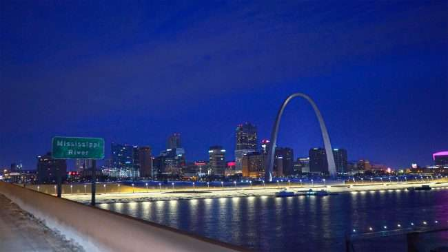 Mississippi and Gateway Arch from Popular St. Bridge in Feb. 2021. credit craig currie