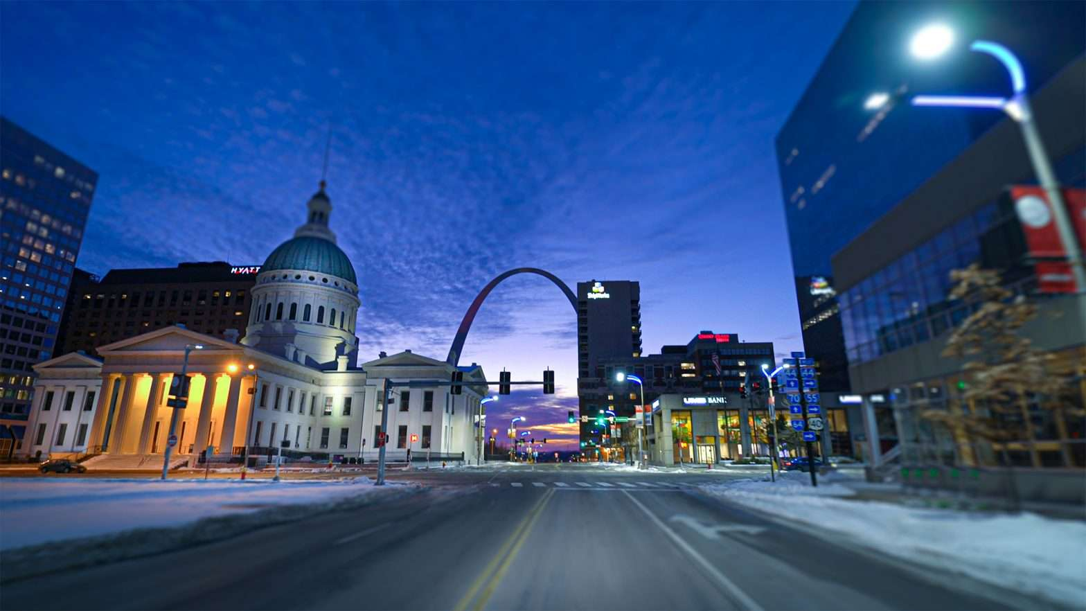 Old Courthouse and Gateway Arch at night in downtown St. Louis in Feb. of 2021. credit craig currie