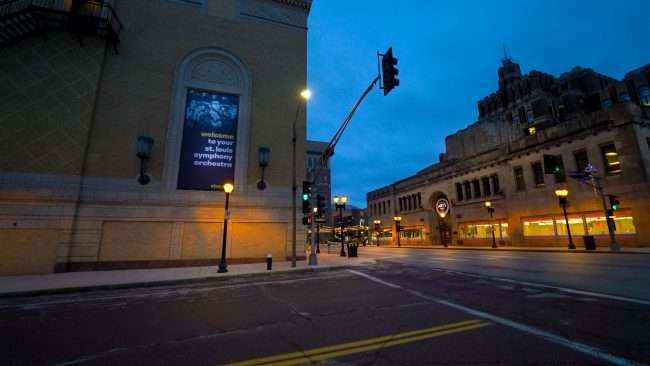 Powell Hall and Grand Center Arts Academy in Grand Center Feb. 2021. credit craig currie