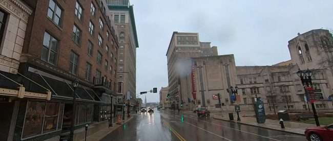 Raining in Midtown Saint Louis on Grand Ave. in Feb. 2021. credit craig currie