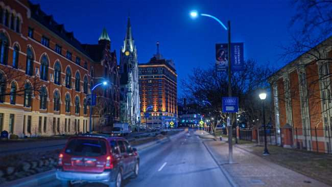 Saint Louis University from Grand Blvd in Grand Center, Midtown St. Louis in Feb. 2021. credit craig currie