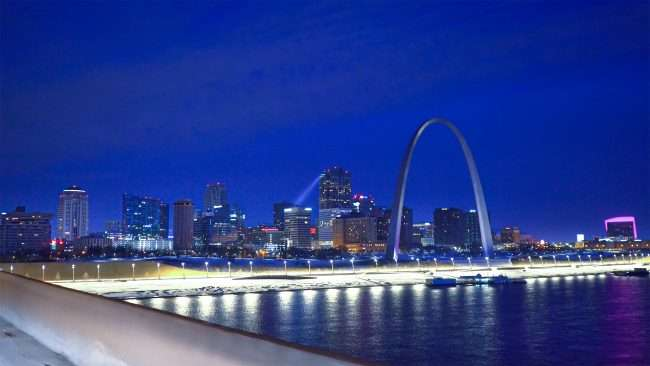 St Louis City skyline with Gateway Arch from Popular St. Bridge Feb. 2021. credit craig currie