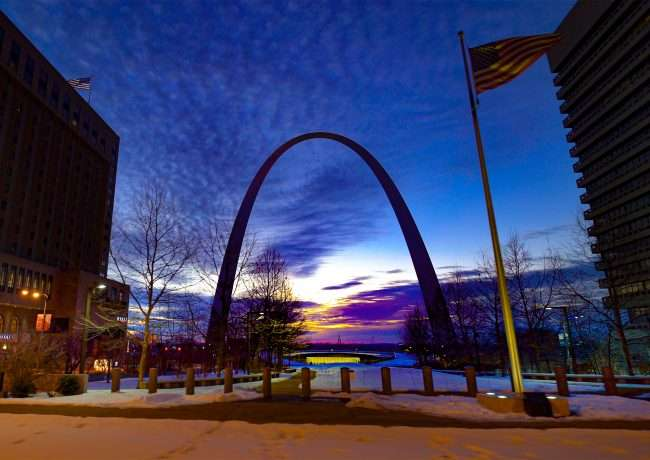 St. Louis Arch at night from Broadway Blvd on Feb 2021. credit craig currie