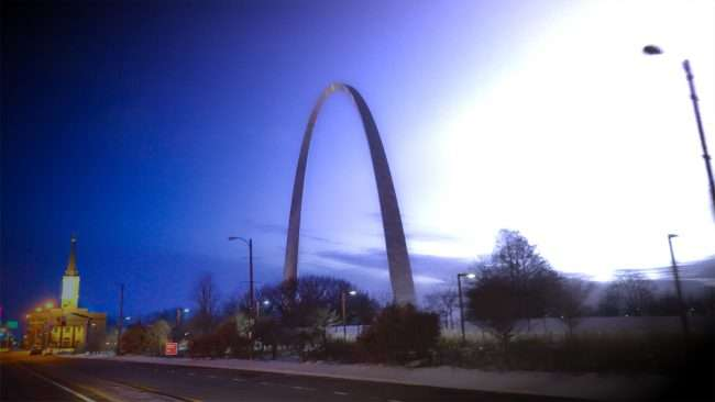 St. Louis Gateway Arch downtown turning night to day in Feb. 2021. credit craig currie