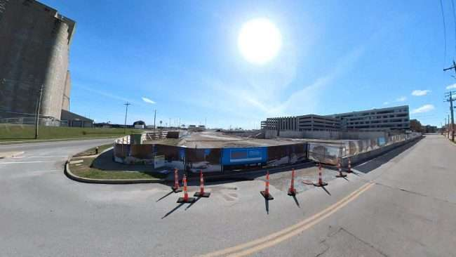Construction of Cortex Gateway Plaza at 4210 Duncan in St. Louis, MO. credit craig currie March 2021.