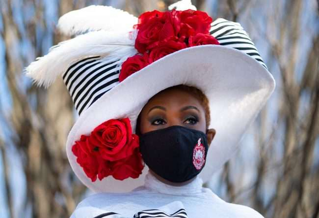 Mrs. Wauneen Rucker who holds Mrs. Missouri America 2020 title at Forest Park Pavilion wearing hat inspired by the 1904 World's Fair. The hat was made by the famous St. Louis hat maker Dianne Isbell.