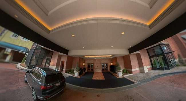 Portico and entrance to The Ritz Carlton in Clayton, MO. credit craig currie March 2021