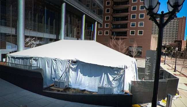 Tony's Restaurant white tent for outside dining in Clayton
