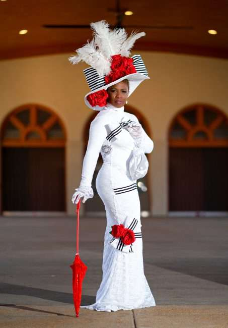 Mrs. Wauneen Rucker who holds Mrs. Missouri America title 2020 is wearing a hat created by Dianne Isbell inspired by the 1904 World's Fair. March 8, 2021 by craig currie.