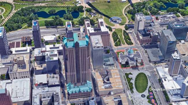 Ariel view of One Metropolitan Square Building in St Louis. credit Google Earth 2021