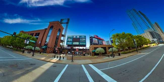 Busch Stadium and One Cardinal Way Apartments Salt and Smoke. April 2021 by craig currie