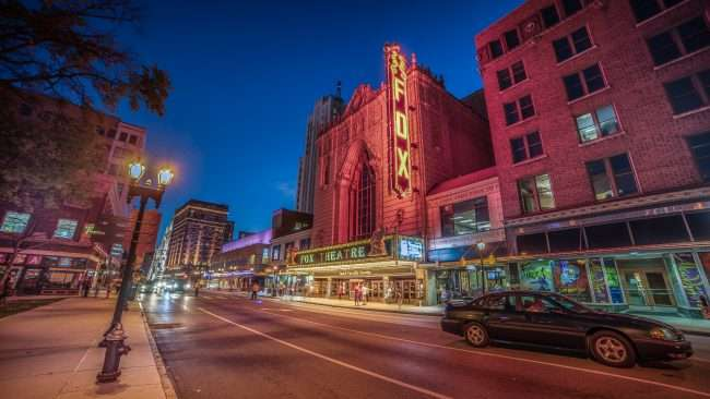 Fabulous Fox Theater St. Louis at night time.