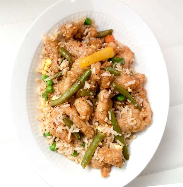 Honey Sesame Chicken Breast and Fried Rice at Panda Express. credit craig currie