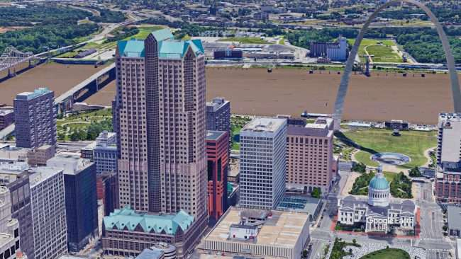 One Metropolitan Square St Louis with Gateway Arch. credit Google Earth 2021