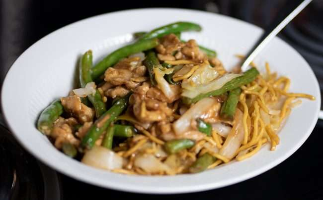 Panda Menu String Bean Chicken Breast with Chow Mein April 2021. credit craig currie