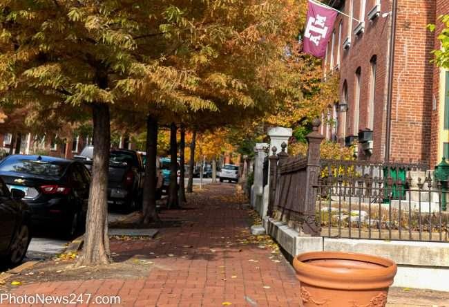 Red brick sidewalk in Soulard neighborhood of St. Louis in Fall November 2019. credit craig currie
