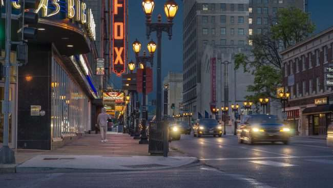 Sidewalk with street lights by Fox Theater Grand Center Arts District