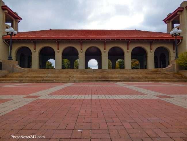 brick walk way World's Fair Pavilion at Forest Park Forever. credit craig currie 2019