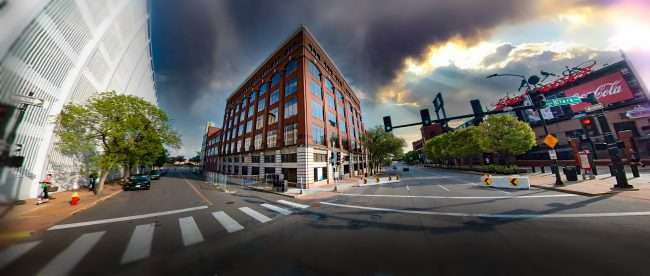 Ballpark Heights Apartments across from Bush Stadium in downtown St. Louis. May 2021 by craig currie