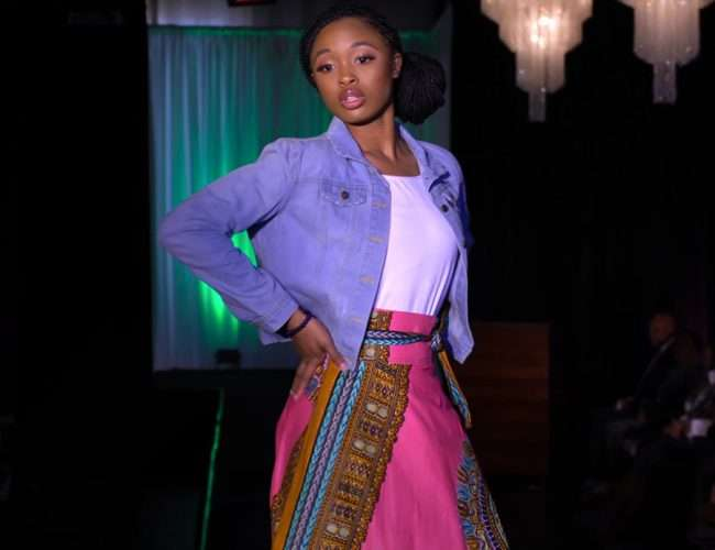 Full length Skirt modeled at Alpha Kappa Alpha Fashion Show in St. Louis. March 2020 by craig currie