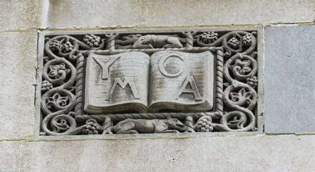 YMCA inscribed in building Downtown St. Louis. May 2021 by craig currie