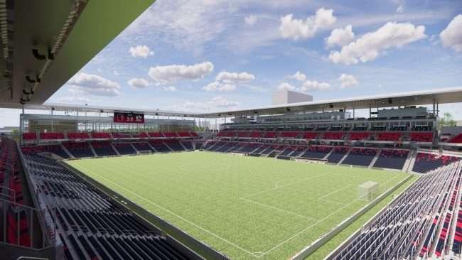 St Louis City Soccer Stadium rendering of inside