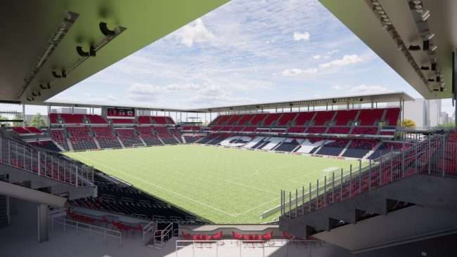 St Louis City Soccer Stadium rendering of field. Courtesy of St. Louis CITY SC 2021