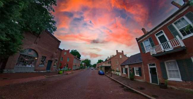 Red-brick streets cover historic Main Street, in St. Charles MO. credit craig currie