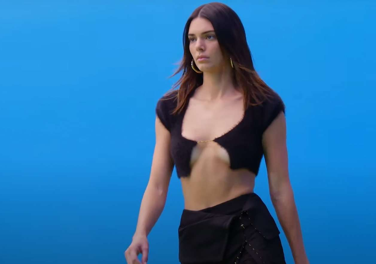 Kendal Jenner models cropped cardigan by Jacquemus. credit Jacquemus