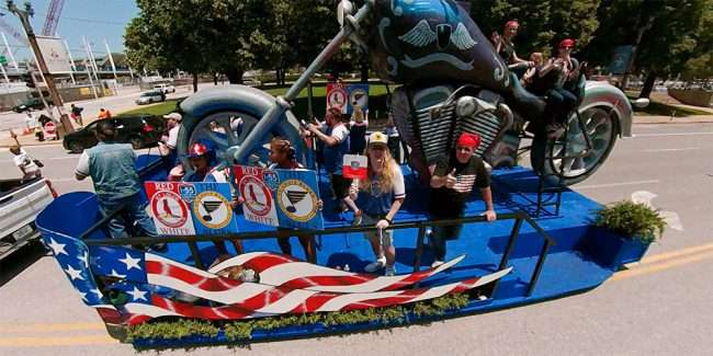 I-55 South band performs in America's Birthday Parade going by Union Station St. Louis. credit craig currie