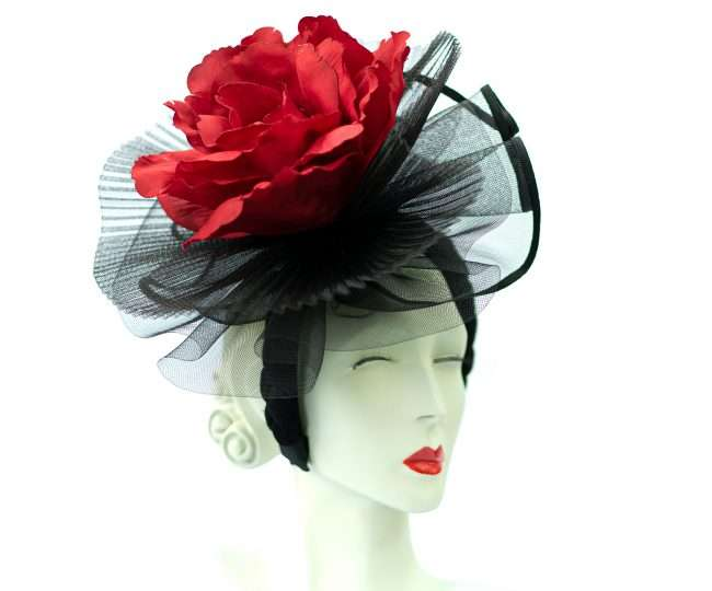 Red Flower fascinators Hats by Dainne Isbell for Kentucky Derby and High Society Social Events. credit craig currie