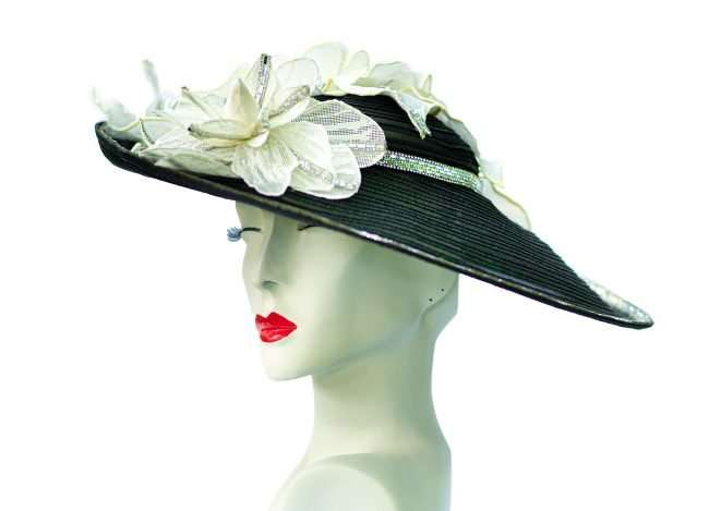 Kentucky Derby Large Brim Hat with White Flowers, Hats by Dainne Isbell. credit craig currie