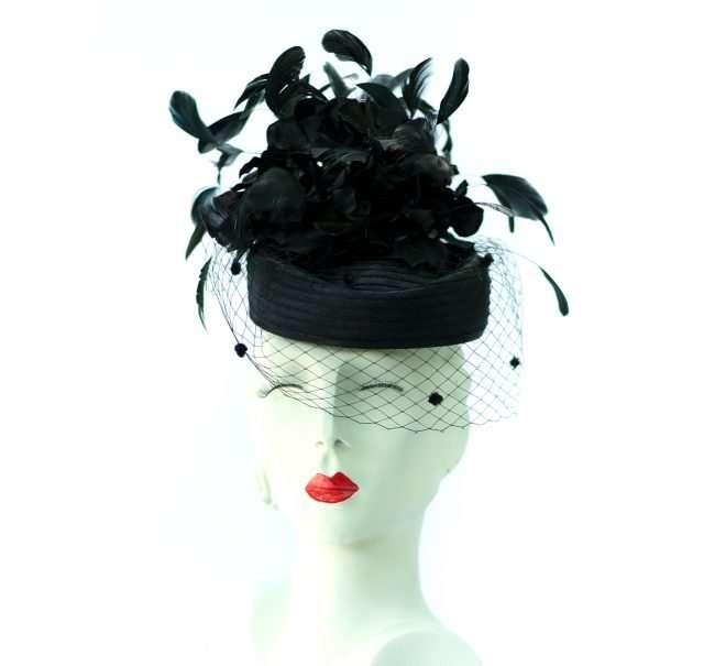 Kentucky Derby Hat with Dark Leaves and Black Vail by Hats by Dianne. credit craig currie