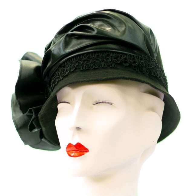 Ladies Black Coche Leather Fall Hat, Hats by Dianne. credit craig currie