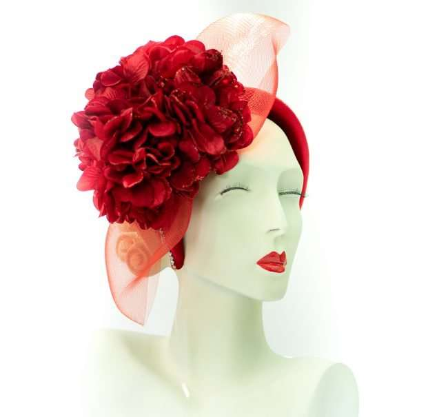Kentucky Derby Fascinators Red Pedals Red Vial from Hats by Dainne Isbell. credit craig currie