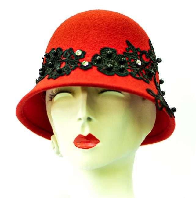 Red Cloche Winter Hat by Hats by Dianne. credit craig currie