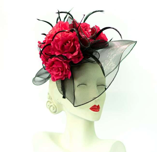 Kentucky Derby Fascinators Red Rose Black Vial from Hats by Dainne Isbell for. credit craig currie