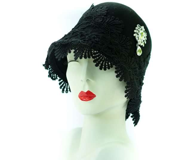 Ladies Black Winter Hat with with Rhinestones. Hats by Dianne. credit craig currie
