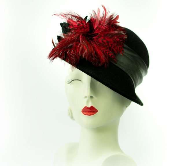 Black Cloche Hat with Black Leather Banding by Hats by Dianne. credit craig currie