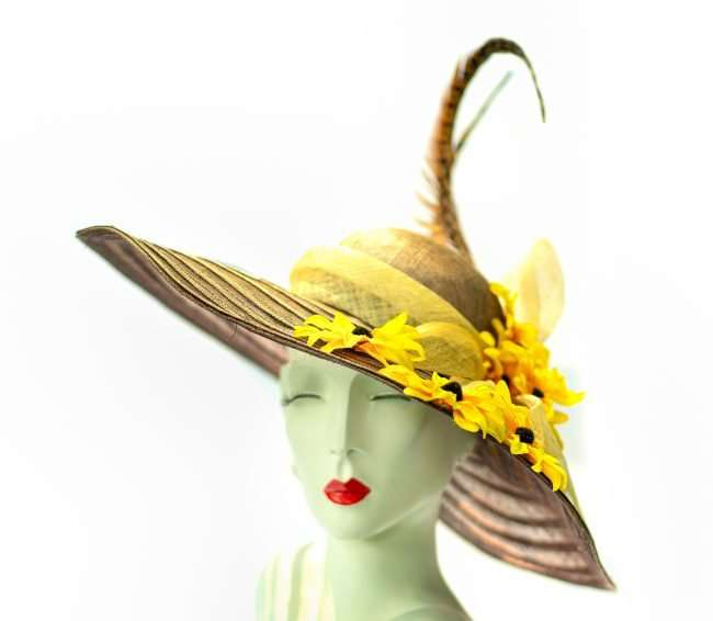 Kentucky Derby Large Brim Straw Hat with Yellow flowers, Hats by Dianne. credit craig currie