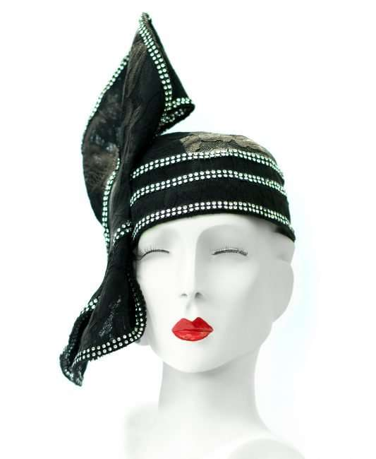Black Wrap Hat by Hats by Dianne. credit craig currie