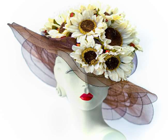 Kentucky Derby Red translucent Large Hat with Sunflowers. Hats by Dianne. credit craig currie