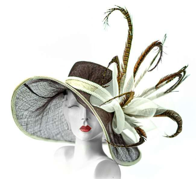 Kentucky Derby Wide Brim Hat with Peacock Feathers. Hats by Dianne. credit craig currie