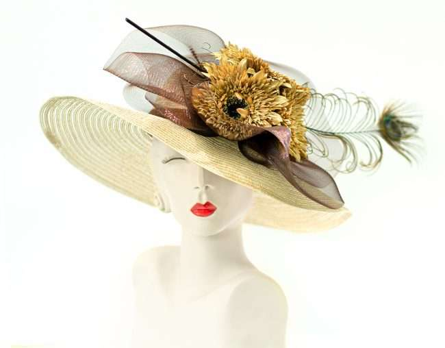 Kentucky Derby Wide Brim Straw Hat with with Yellow Flowers. Hats by Dianne. credit craig currie