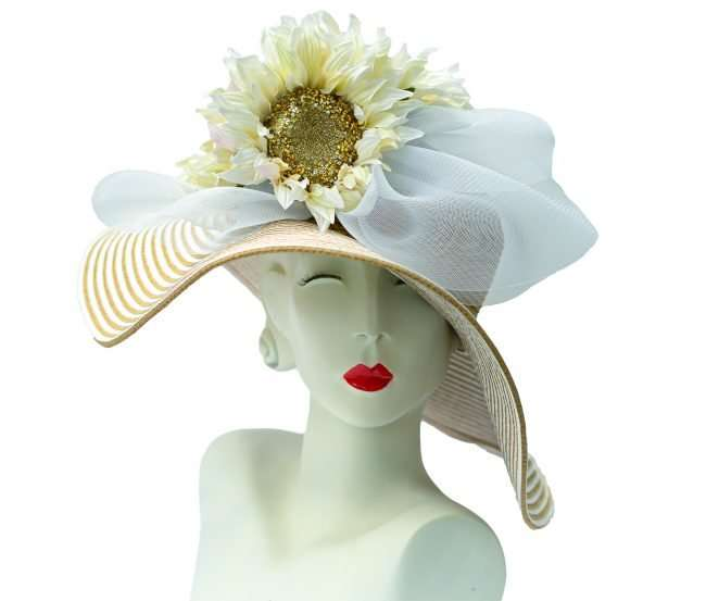 Kentucky Derby Big Straw Hat with Sunflower. Hats by Dainne Isbell. credit craig currie